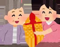 おばあちゃんにプレゼントを渡すイラスト