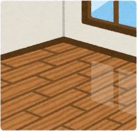 硬いフローリングの床のイラスト