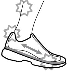 サイズの合っていない靴のイラスト