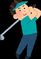 ゴルフをする男性のイラスト