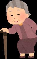 膝が痛くて杖を突いて歩くおばあちゃんのイラスト